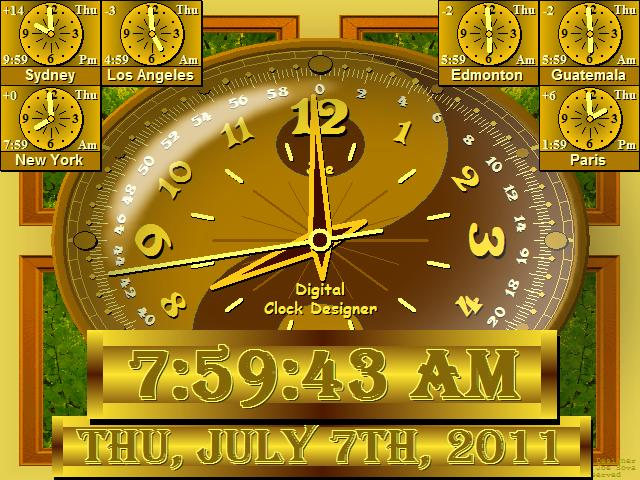 Full Screen Digital Clock Software for PC Desktop Alarm