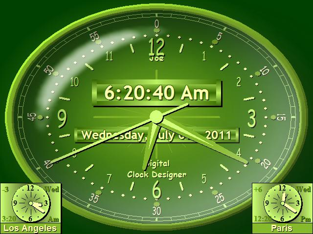 Countdown Timer, Digital Clock for Desktop Software, World Clock Face