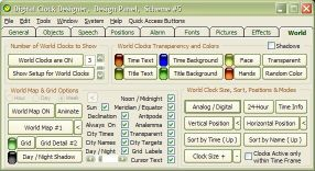 Digital Clock Designer's World Clock Settings